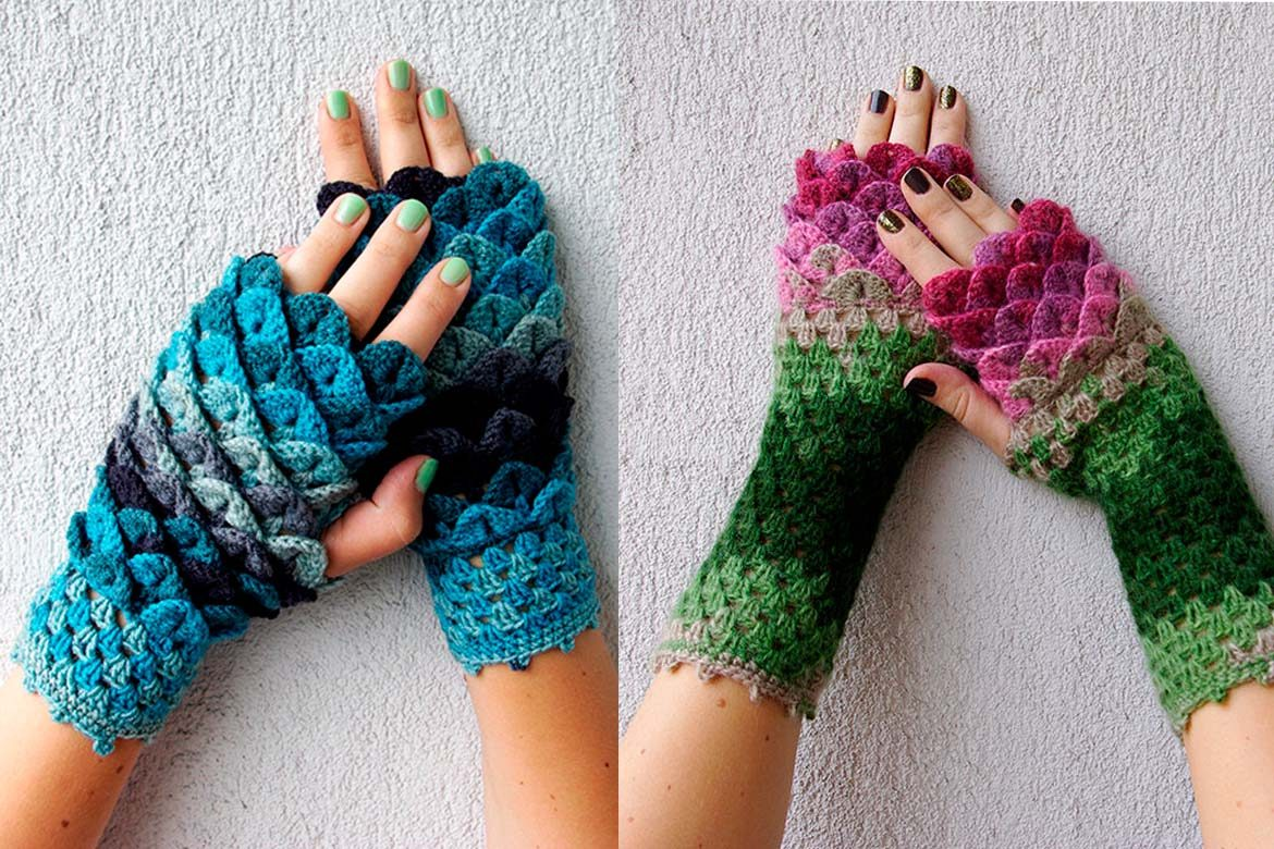 Dragon Scale Crochet Fingerless Gloves To Drool Over The Natural